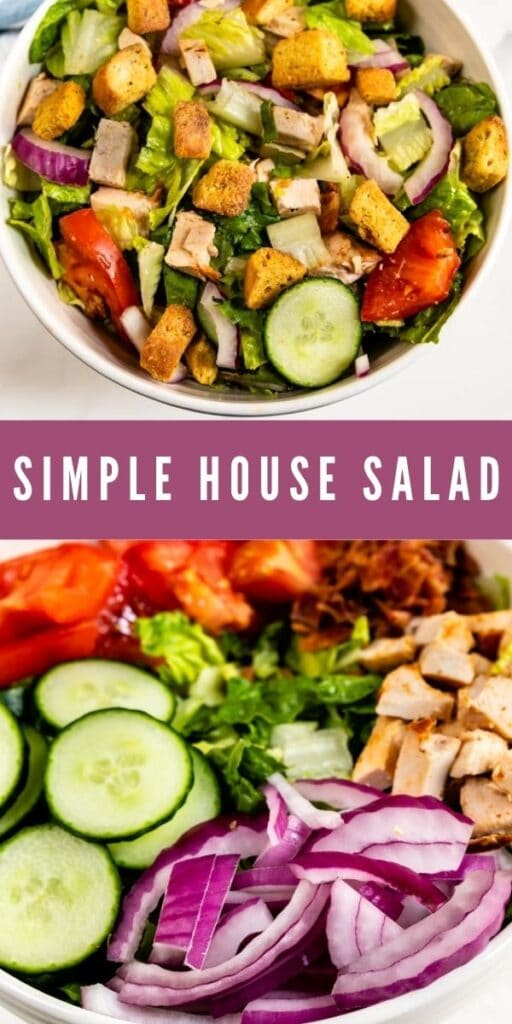 Collage of simple house salad with recipe title in the middle of two photos