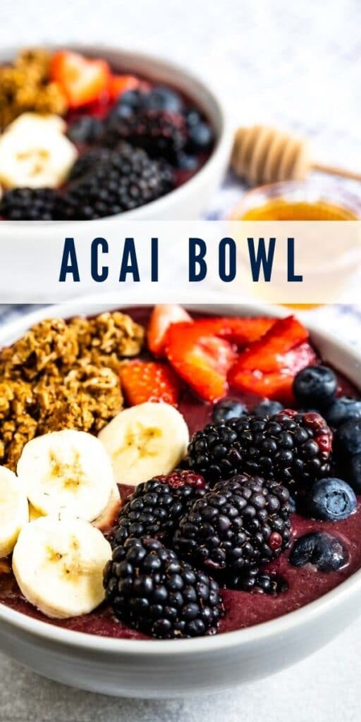 Two acai bowls with honey in between them with recipe title in middle of photo