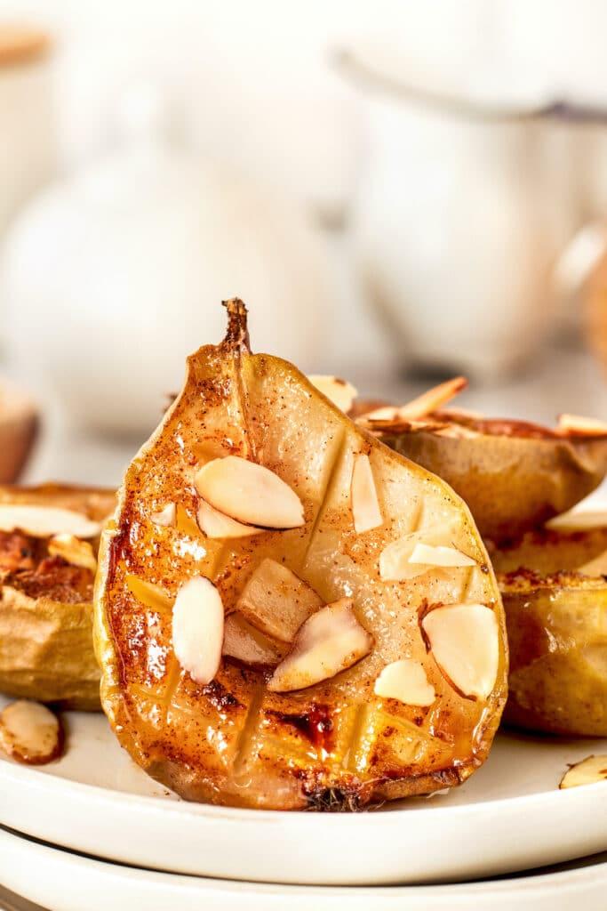 Close up shot of an air fryer pear
