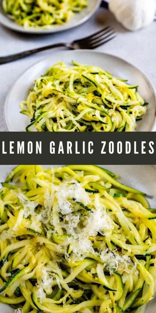 Photo collage of lemon garlic zoodles with recipe title in the middle of photos