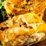 Turkey, bacon and cheese pull apart sandwiches with recipe title on bottom of image