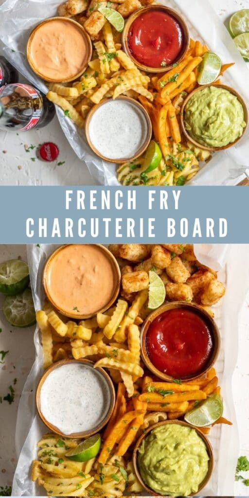 Collage of french fry charcuterie board with recipe title in the middle of photos